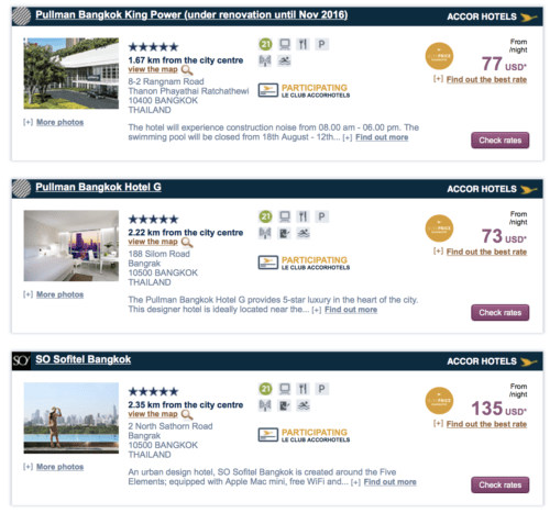 Rates for Bangkok under the Accor Super Sale