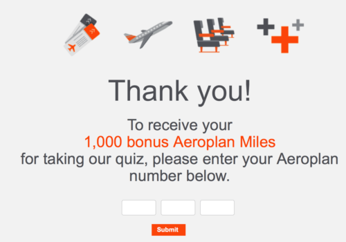 Earn 1000 easy Aeroplan miles by completing the quiz