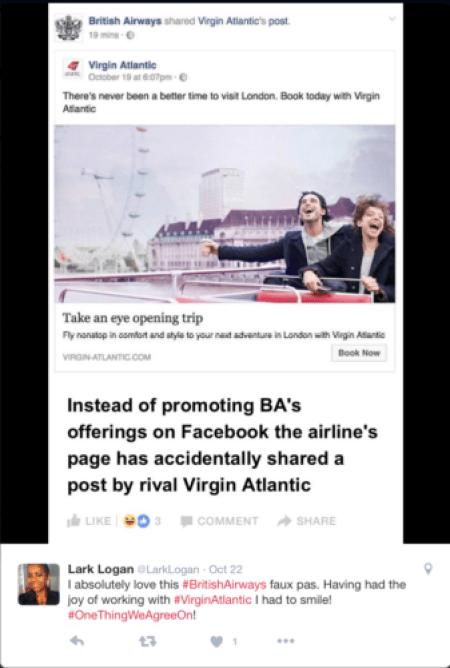 British Airways' social media team accidentally shared Virgin Atlantic's post @LarkLogan/Twitter british airways virgin atlantic