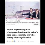 British Airways' social media team accidentally shared Virgin Atlantic's post @LarkLogan/Twitter