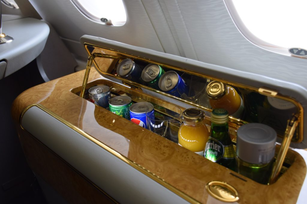 Emirates First Class A380 In-seat Minibar