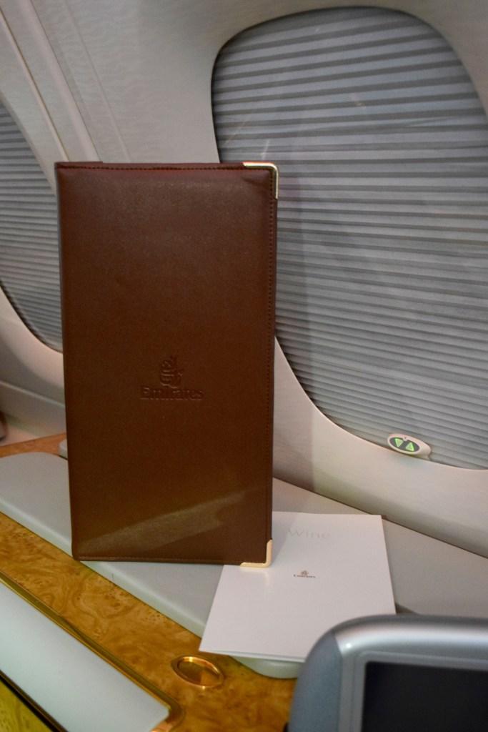 Emirates First Class A380 Menu
