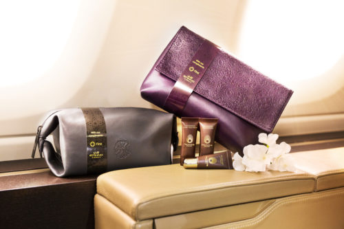 Etihad's new amenity kit by Christian Lacroix and Omorovicza for First Class passengers