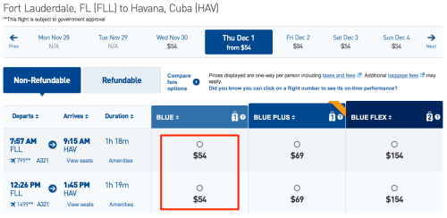 Fly from Ft. Lauderdale to Havana for $54 one-way on JetBlue
