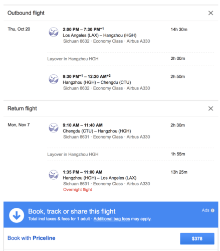 Fly form Los Angeles to Chengdu for less than $350