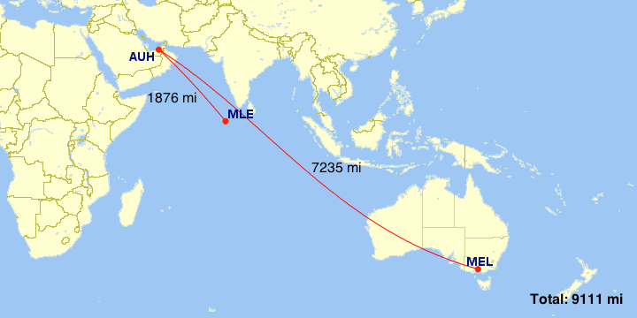 Flying from Male (MLE) to Melbourne (MLE) via Abu Dhabi involves some back-tracking.
