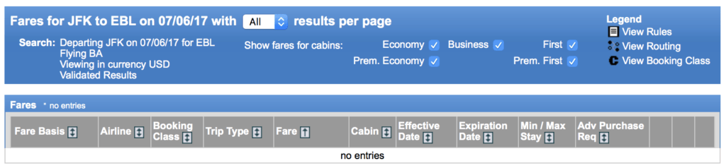 Neither American Airlines or British Airways—the over-water carrier—publishes a fare between New York and Erbil.