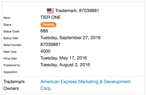 "American Express filed a trademark for ""Tier One"" back in May 2016"