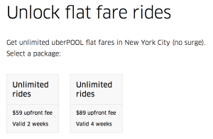 UberPOOL 2 or 4 week passes for trips in NYC