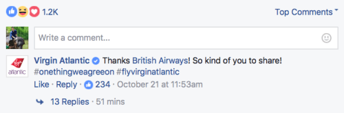 Virgin Atlantic comments on British Airways' shared post