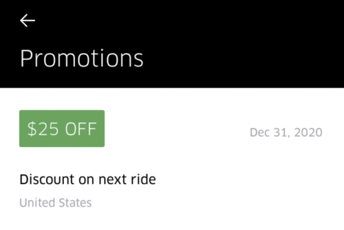Get $25 off your next Uber ride with this promo code, valid for existing users!