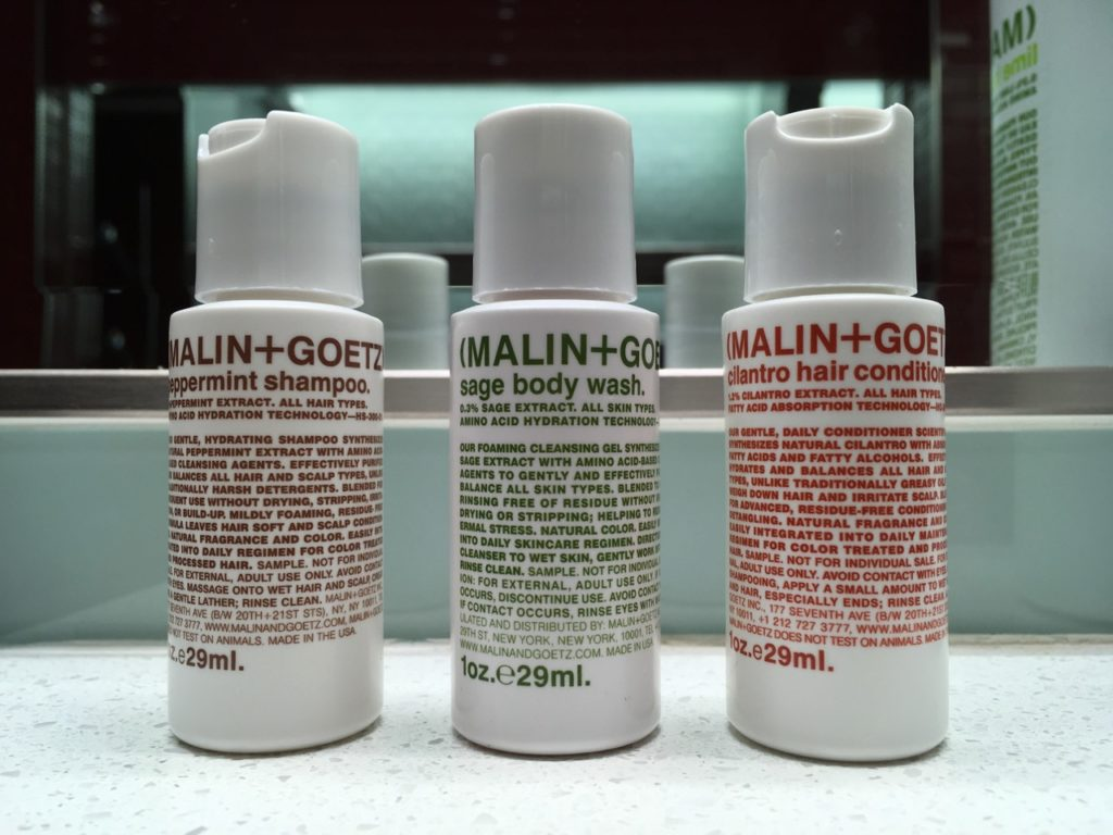 Delta offers the same line of Malin+Goetz products in their Sky Club showers.