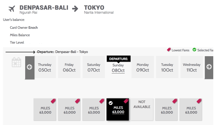 Garuda Indonesia charges 63,000 miles for a one-way Business Class ticket from Bali (DPS) to Tokyo (NRT).
