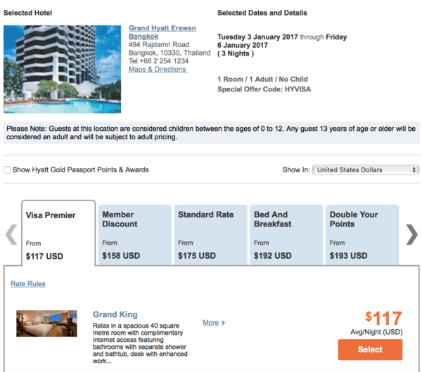 Stay at the Grand Hyatt Bangkok for $117 + taxes a night around New Years with this promotion!