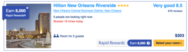 Earn 8,000 points when you book a night at the Hilton New Orleans Riverside
