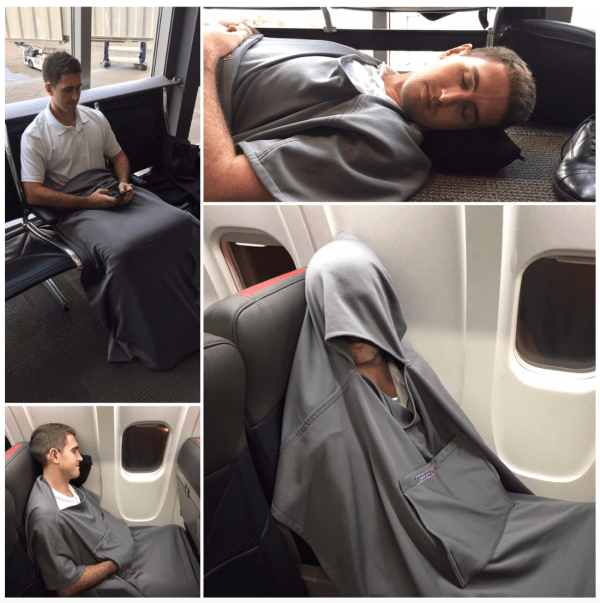 The Loungaroo aims to be an all-in-one travel blanket. Souce: Loungaroo