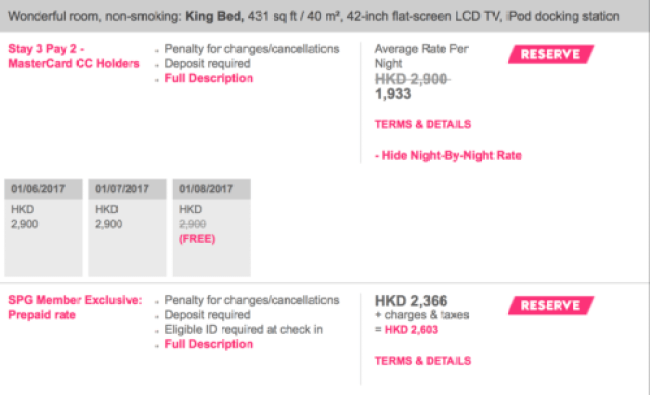 "The ""3rd night free"" promo amounts to a ~20% discount in W Hong Kong"