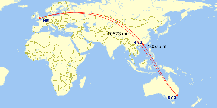 The great-circle distance between Sydney and London, and one that includes a stop in Hong Kong.