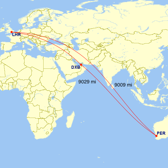 The great-circle distance between Perth and London, and between Perth, Dubai, and London.