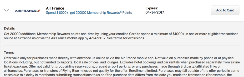 You can earn 20,000 bonus American Express Membership Rewards points when you spend $1,000 with Air France via this Amex offer!