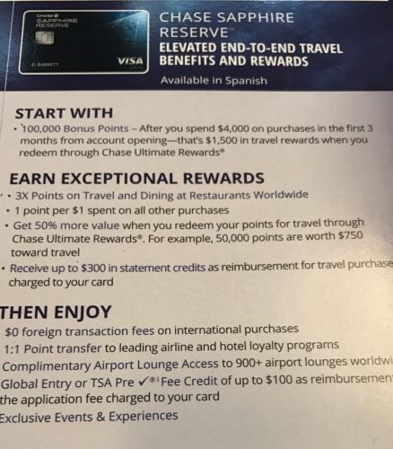 Chase Sapphire Reserve in Branch Details