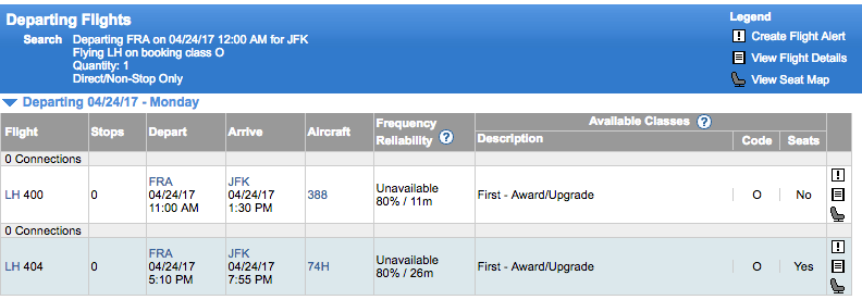 Availability on Lufthansa FRA-JFK