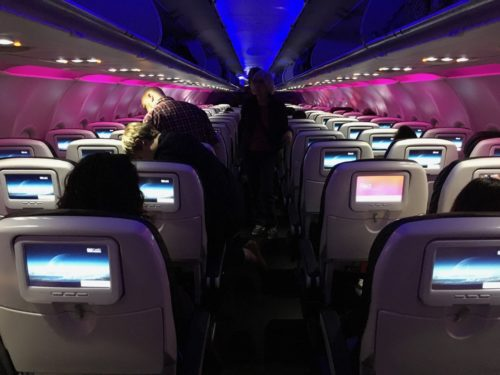 The mid-day mood lighting setting on a Virgin America flight from Portland (PDX) to San Francisco (SFO).