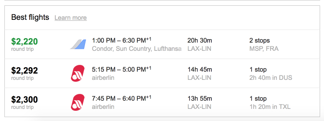 Air Berlin business class fare Los Angeles to Milan.