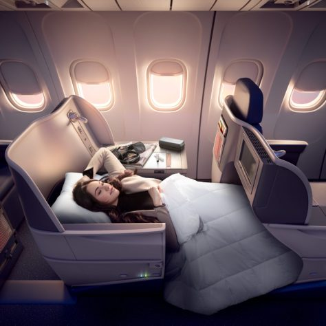 Delta One lie-flat seats business class Boeing 767-400ER to Honolulu, Hawaii.