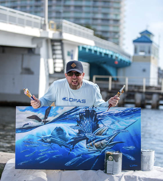 Local Pompano Beach artist Dennis Friel is the painter and digital mad man behind the new murals to be installed on the Atlantic Boulevard Bridge in March 2019.