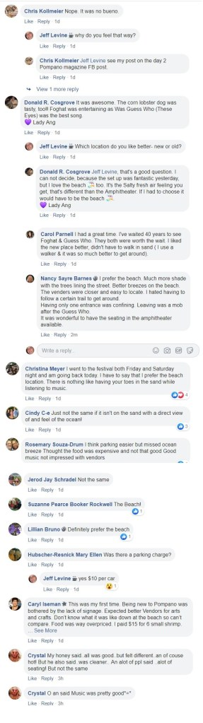 Posts about the Pompano Beach Seafood Festival from the Pompano Beach Florida Residents Group Facebook page.