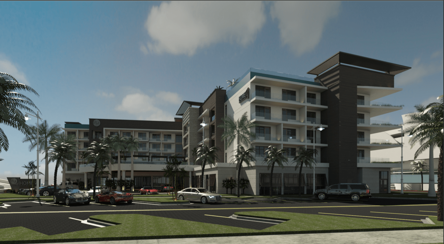 A rendering of the beachside, dual-branded Hilton Hotel which broke ground in Pompano Beach and is expected to be complete by December 2020.
