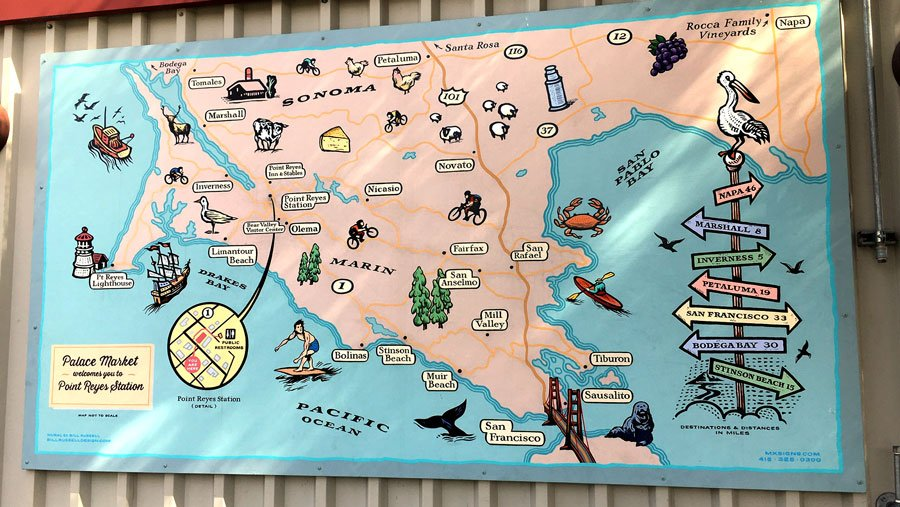 Hand Painted Map by Bill Russell at Palace Market
