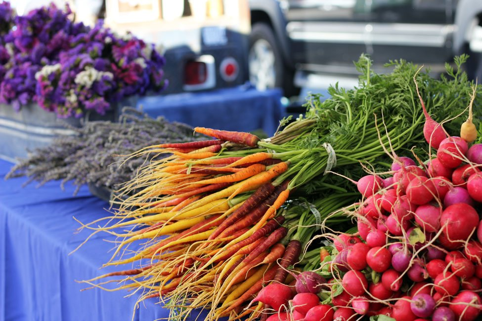 Carrots, radishes and lavender.