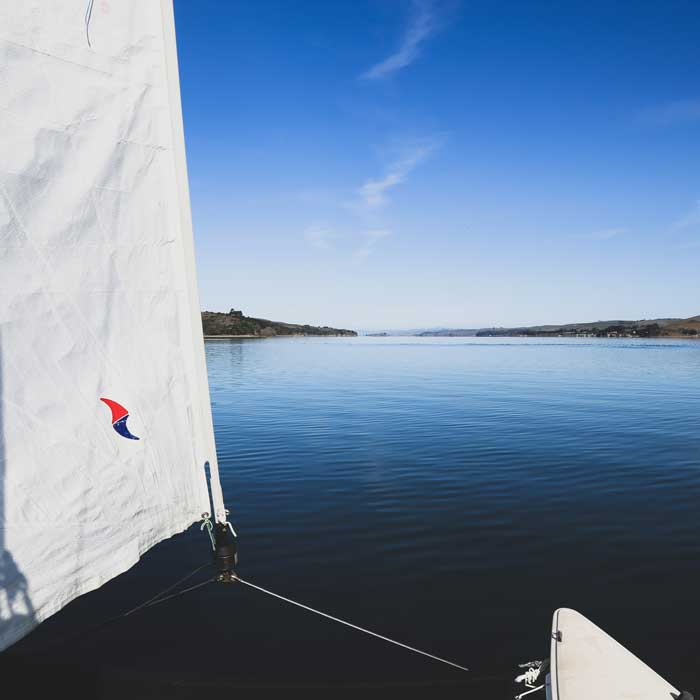 Catamaran sailing on Tomales Bay.