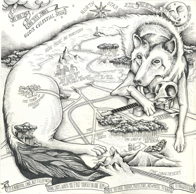 """Will Schaff's map for Molina. The line on the moon's banner comes from the song """"Blue Chicago Moon"""" on Didn't It Rain. The caption """"The city that broke your heart..."""" is a reference to the Magnolia Electric Co. song """"Leave the City."""""""