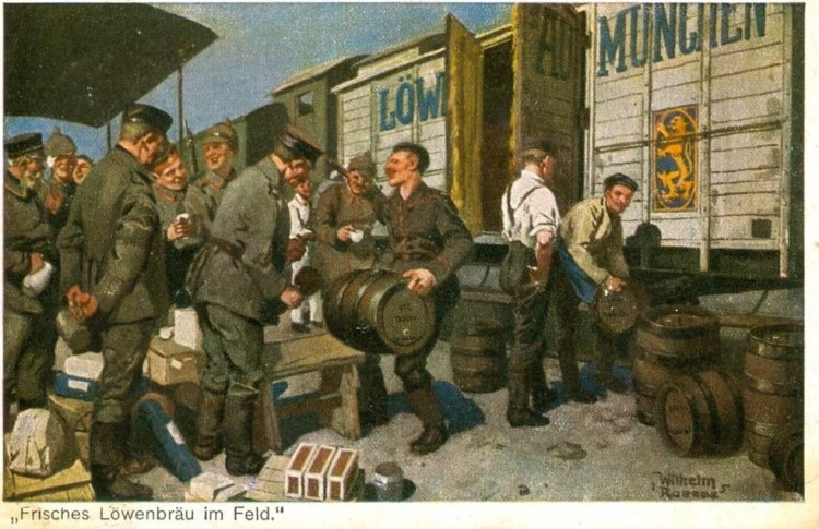 "This 1917 postcard advertises ""fresh Löwenbräu in the field"""