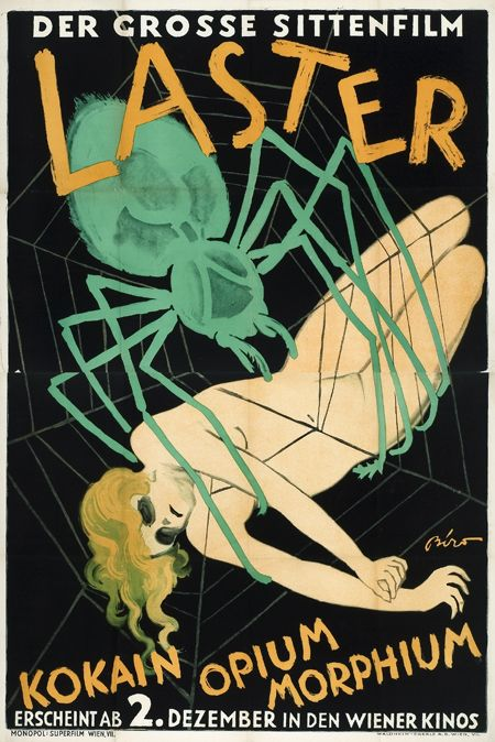 """Poster for the silent film """"Laster der Menschheit"""" (Vice of Humanity), 1927."""