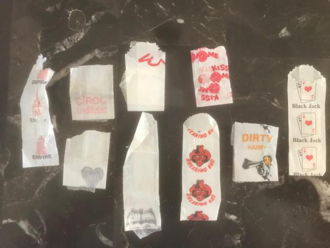 Group of Stamped Heroin Bags, NYC 2019