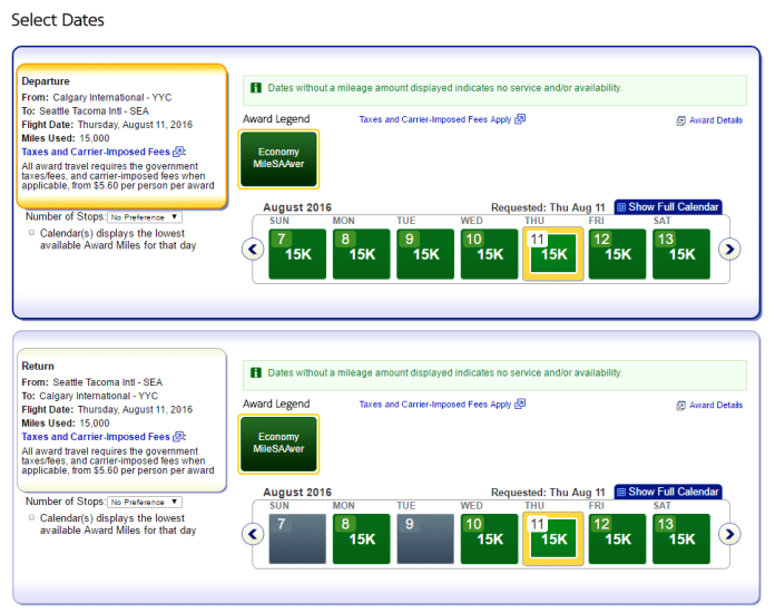 AS Availability YYC-SEA Using AA