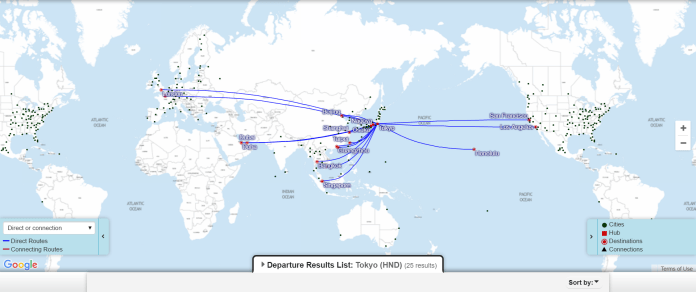 JAL HND Route Map
