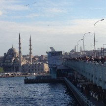 Fishermen on Galata Bridge in Istanbul