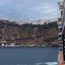 Sailing into Fira, Santorini
