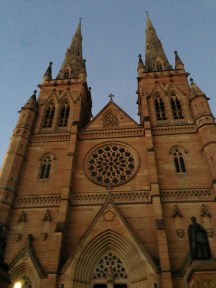 St. Mary's Cathedral at dusk in Hyde Park, Sydney