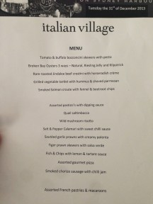 Italian Village NYE Menu