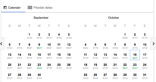 Google Flights Calendar
