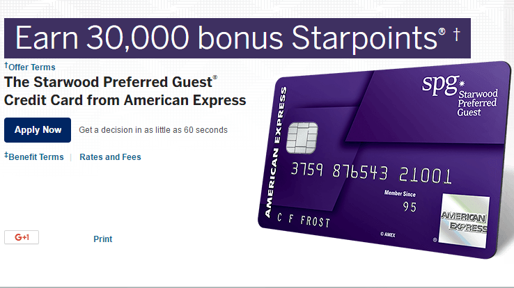 starwood amex is offering 30000 bonus starpoints