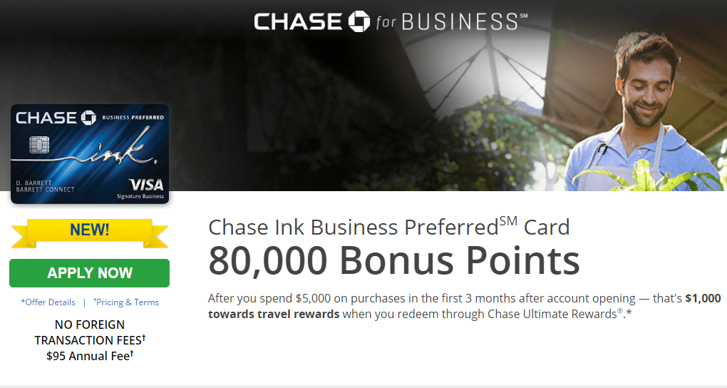 Earn 80K Points With Chase Ink Business Preferred Card