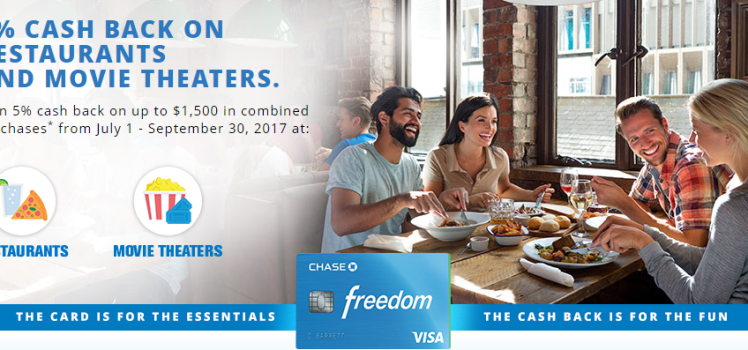 Chase Freedom  5X Cash Back at Restaurants