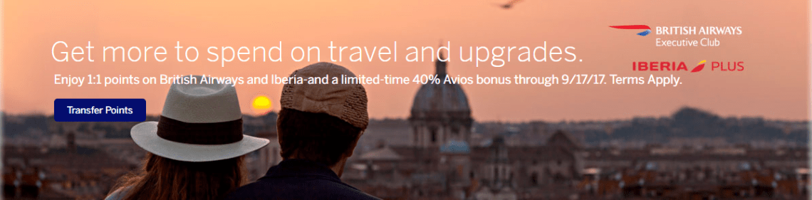 Transfer Amex Points to British Airways Avios with a 40% Bonus